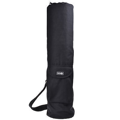 Black Cotton Exercise Yoga Mat Bag with Front Cargo Pocket