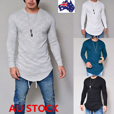 Mens Slim Fit Crew Neck Long Sleeve Solid Tee T-shirt Casual Tops Plain Blouse