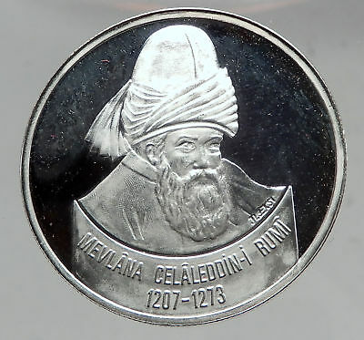 2001 Turkey Philosopher ISLAMIC Mystic RUMI Whirling Dervish Silver Coin i63514