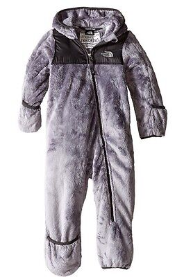 NWT North Face Infant BOYS OSO Fleece One Piece in METALLIC SILVER BUNTING $70