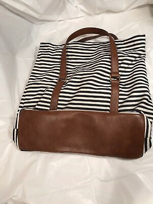 Forever 21 Canvas Travel Tote Bag Black White Stripes Expandable  faux leather