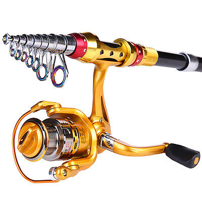 Telescopic  Fishing Rod and Reel Combos Set Gold Spinning Pole Reels Tackle Kits