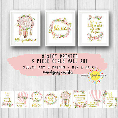 "Girls Nursery Room 3 Piece Prints Wall Art  8""x10"" Floral Feathers Mix & Match"
