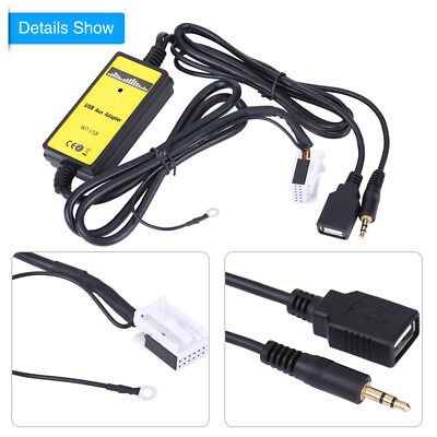 Car USB Aux Adapter MP3 Cable Radio Audio Interface 12V for VW Golf Passat Polo