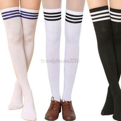 AU Women Over The Knee Socks Lady Plain Striped High Thigh Stockings Long Socks