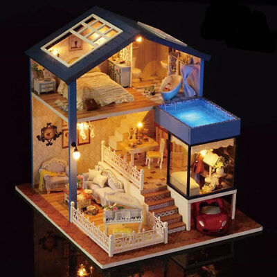 Miniature DIY Seattle Cottage Doll house Kit Dolls House With Furniture