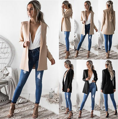 New Womens Woolen Lining Long Suit Blazer Jacket Tops Ladies Outwear Coats 6-16
