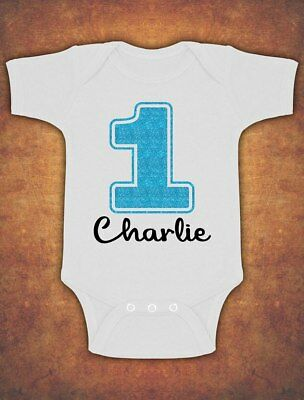 Personalised My First 1st Birthday Cute Baby Kids  Body Suit Vest Glitter Boy