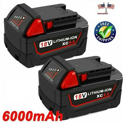 2 Pack 18V 5.0Ah Li-ion Rechargeable Battery for Milwaukee M18 M18B 48-11-1850