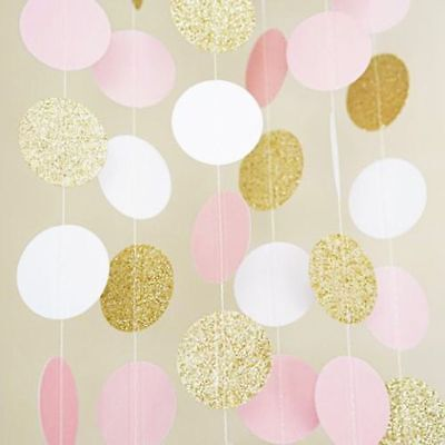 Glitter Circle Party Garland Bunting Banner Dots Paper Wedding Party Club Decor