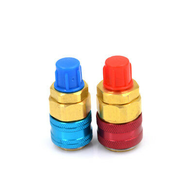 1Pair R134a Auto Quick Couplers Adapter Low&High Side Automobile AirConditionerM