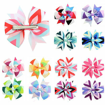 LOT 12PCS Baby Girls Toddler Hair Ribbon Bows Alligator Hair Clips Bow Hairpins