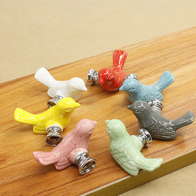Ceramic Bird Door Knob Wardrobe Dresser Drawer Cabinet Cupboard Pull Knob Handle