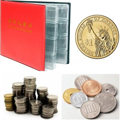 Portable 240 Coins Penny Pockets Holder Collecting Folders Leather Album Book