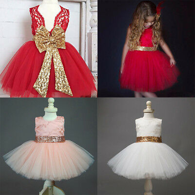 Princess Party Baby Tulle Gown Girl Wedding Sequin Bow Tutu Dress