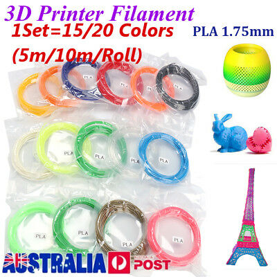 15/20 Colors PLA 1.75mm 3D Printer Filament 10m/Roll Colours Engineer Drawing AU