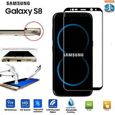 Samsung Galaxy S8 3D Full Curved Tempered Glass LCD Film Screen Protector Black