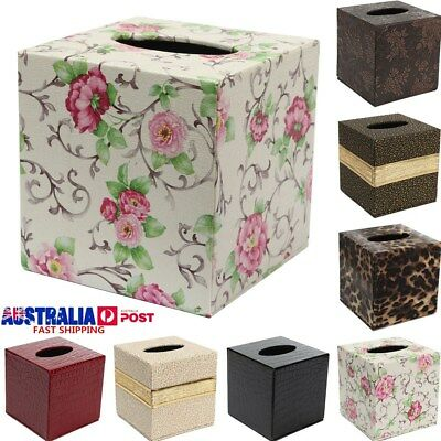 Square Car PU Leather Tissue Box Holder Bathroom Home Hotel Napkin Case Cover