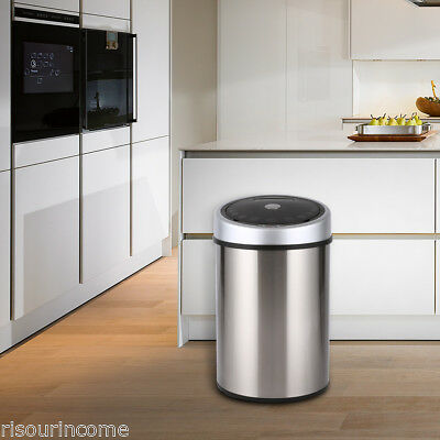 Touchless Sensor Trash Can Waste Bin Dust Bin with Bag Holding Ring for Kitchen