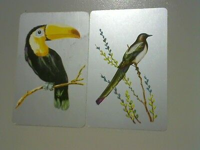 2 Single Swap/Playing Cards - Assorted Birds with Silver Backgrounds#
