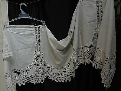 Antique Lace Panel Bedroom Curtain Handmade AS IS rustic L Larson 76X22
