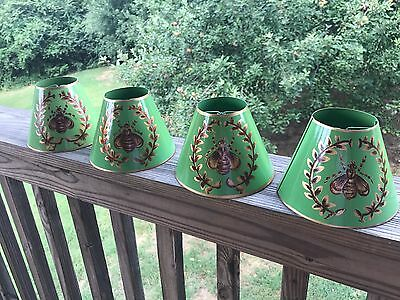 Set of 4 Vintage Lamp Chandelier Sconce Shade Bumble Bee France Green and Gold