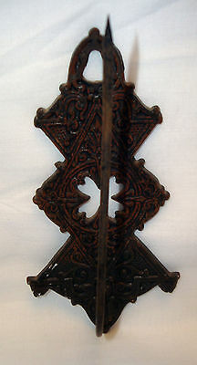 Old Victorian Cast Iron Ornate Wall Hook Receipt Bill File Paper Spike Holder