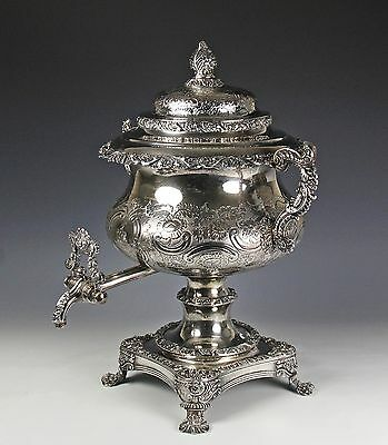 Exceptional 19C Georgian Old Sheffield Silver Plate Armorial Hot Water Urn