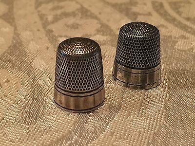 Antique Simons Brothers Paneled Sewing Thimble Size 8 Sterling Silver (lot of 2)