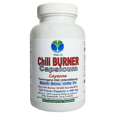 Chili Power Capsicum, 120 Pulver-Kapseln a 400mg,  #25596