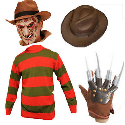 Halloween Boys Girls 4 Piece Kit Freddy Kruger Jumper Hat Claw Mask Set Cosplay