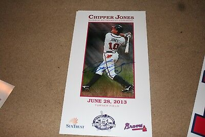 Chipper Jones Signed Atlanta Braves Jersey Retirement Poster