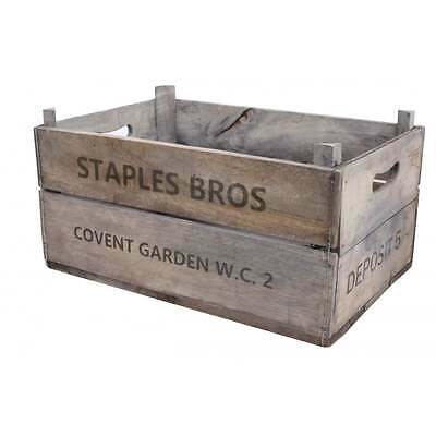 Vintage Style Deep Apple Box Crate Recycled Wooden Storage Wood Fruit Box