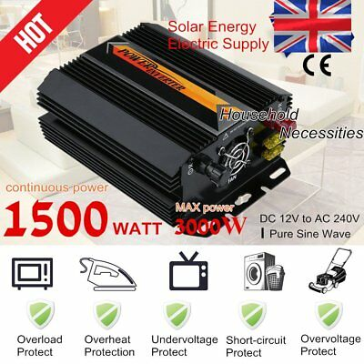 New Voltage Modified Sine Wave 12V 1500W Inverter LCD display converter U@