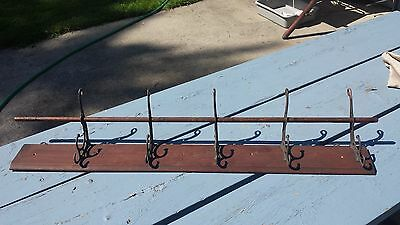 Antique Wood Cast Iron Hat Coat Rack 5 Double Hooks Railroad Car School House