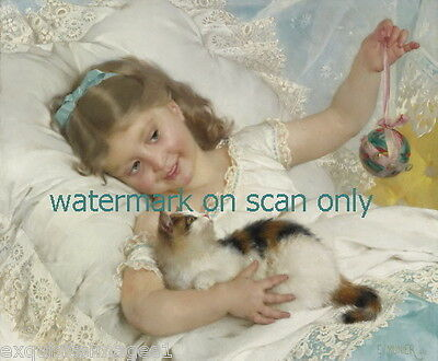 c1882 Sweet Girl Plays w Kitten Kittens Cat Cats On Her Bed~NEW Large Note Cards