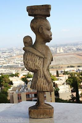 """Antique Hand Carved Wooden Figurine Authentic African Tribal Wood Art Superb 16"""""""