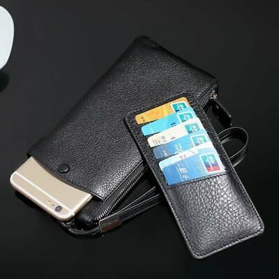 Genuine Cowhide Cow Leather Zip Wallet Card Pocket Sleeve Pouch Case Phone Cover