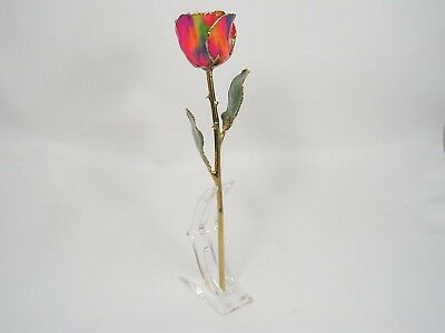 24k Gold Dipped Love's On Fire Rose in Stand (Free Anniversary Box)