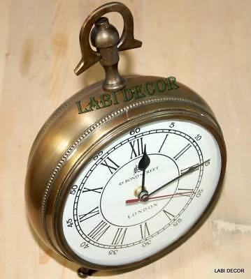 Antique Clock Brass Look Collectible Vintage Watch & Clock Office TableTop Decor