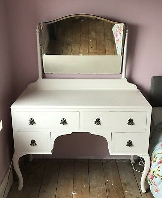 Vintage Antique Dressing Table With Mirror - Walnut Mahogany Chalk Painted