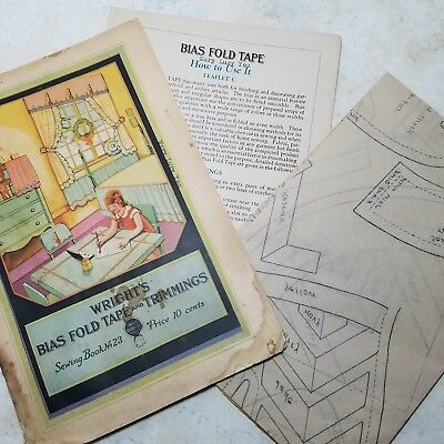 "Vintage 1930 Advertising ""Wright's Bias Fold Tape and Trimmig"" Book #23 Patterns"