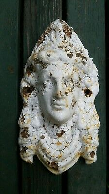 "Antique Garden Urn Face 8"" Cast Iron Awesome chipping chippy white paint"