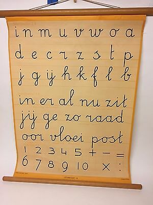 antique classroom chart, handwriting, JB wolters groningen