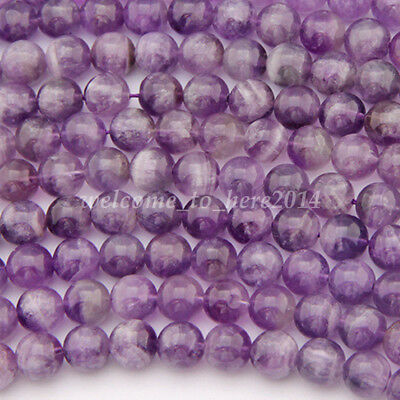 Wholesale Chic Natural Amethyst Gemstone Round Loose Beads 4/6/8/10/12mm DIY New