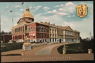 i91 State Capitol and Seal Gold Embossed BOSTON Massachusetts MA Vintage PC