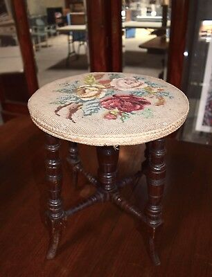 Needlepoint Tapestry Wooden Stool Vintage