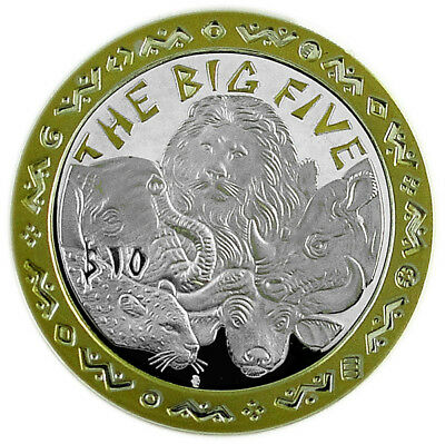 SIERRA LEONE $10 2001 Gold Plated Silver PF THE BIG FIVE