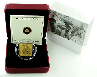CANADA $3 2010 Gold Plated Silver Wildlife Conservation Series - Polar Bear