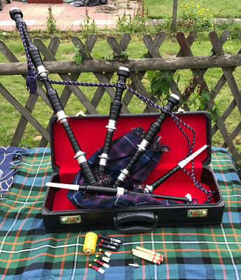 New Great Highland Bagpipe Black Silver/Highland Bagpipe Rosewood finish,reeds